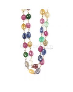 1 Line - Medium Tones Multi Sapphire Tumbled Beads & Gold Necklace - 218.79 cts - 7.1 x 5.5 mm to 7.9 x 5.3 mm (GWWCS1304)