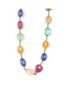 1 Line - Medium Tones Multi Sapphire Tumbled Beads & Gold Necklace - 91.00 cts - 7.8 x 6.2 mm to 9.3 x 5.6 mm (GWWCS1305)