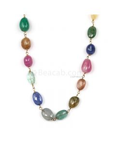 1 Line - Medium Tones Multi Sapphire Tumbled Beads & Gold Necklace - 77.21 cts - 5.4 x 5.2 mm to 8.1 x 5.5 mm (GWWCS1307)