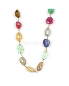 1 Line - Medium Tones Multi Sapphire Tumbled Beads & Gold Necklace - 115.31 cts - 9.1 x 6.6 mm to 10.9 x 7.7 mm (GWWCS1308)