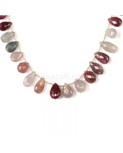 1 Line - Medium Tones Multi Sapphire Faceted Drops - 157.00 cts - 7.1 x 4.5 mm to 14.2 x 7 mm (MSFD1042)