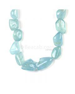 1 Line - Medium Blue Aqua Tumbled Beads - 1003.00 cts - 26 x 20 mm to 42 x 25 mm (AQTUB1004)