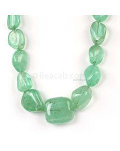 1 Line - Light Green Emerald Tumbled Beads - 738.50 cts - 12.5 x 10.6 mm to 29 x 27 mm (EMTUB1098)