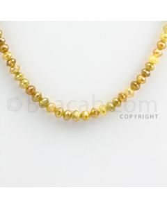 3.50 to 4.50 mm - Yellow Diamond Faceted Beads - 57.44 carats - 15 inches (YDia1009)