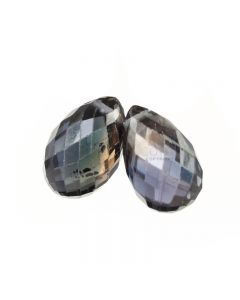 2 Pcs - Dark Purple Sapphire Faceted Drops - 4.46 cts - 8.8 x 5.4 mm & 8.4 x 5.6 mm (MSFD1071)