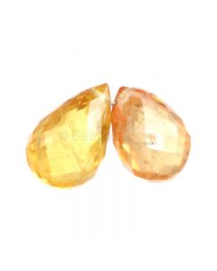 2 Pcs - Yellow Sapphire Faceted Drops - 4.06 cts - 7 x 5.5 mm & 8.4 x 5.5 mm (MSFD1075)