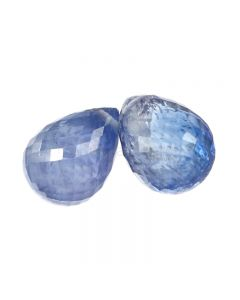 2 Pcs - Medium Blue Sapphire Faceted Drops - 6.49 cts - 8.5 x 6.3 mm & 8.2 x 6.3 mm (MSFD1108)