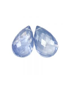 2 Pcs - Light Blue Sapphire Faceted Drops - 9.42 cts - 11.3 x 7.1 mm & 11 x 7.1 mm (MSFD1117)