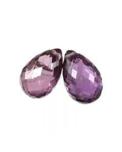 2 Pcs - Medium Purple Sapphire Faceted Drops - 5.53 cts - 9.4 x 6.1 mm & 9.4 x 6.1 mm (MSFD1052)