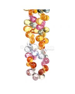 1 Line - Medium Tones Multi Sapphire Faceted Drops - 206.54 cts - 6.8 x 4.6 mm to 8.3 x 5.1 mm (MSFD1045)