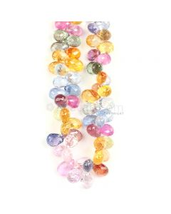 1 Line - Medium Tones Multi Sapphire Faceted Drops - 150.85 cts - 7 x 4.5 mm to 8.5 x 4.7 mm (MSFD1046)