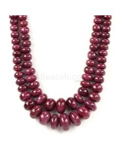 2 Lines - Medium Red Ruby Smooth Beads - 1576.00 cts - 7.2 to 20.3 mm (RSB1071)
