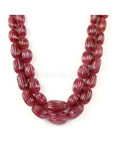 2 Lines - Medium Red Ruby Carved Tumbled Beads - 1293.00 cts - 12.9 to 22.4 mm (RCARB1025)