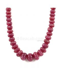 1 Line - Medium Red Ruby Carved Beads - 862.00 cts - 9.2 to 18.2 mm (RCARB1024)