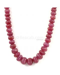 1 Line - Medium Red Ruby Carved Beads - 757.00 cts - 8.3 to 15.2 mm (RCARB1023)