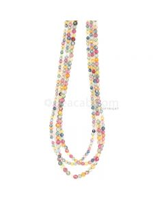 3 Lines - Medium Tones Multi Sapphire Faceted Beads - 116.00 cts - 2.7 to 3.5 mm (MSFB1052)