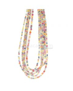 5 Lines - Medium Tones Multi Sapphire Faceted Beads - 171.00 cts - 2.6 to 3.2 mm (MSFB1054)