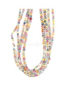 5 Lines - Medium Tones Multi Sapphire Faceted Beads - 162.50 cts - 2.6 to 3.1 mm (MSFB1048)