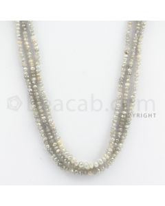 2.00 to 3.20 mm - White Diamond Faceted Beads - 64.21 carats - 16 inches (WDia1023)