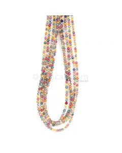 5 Lines - Medium Tones Multi Sapphire Faceted Beads - 192.50 cts - 2.7 to 3.2 mm (MSFB1055)