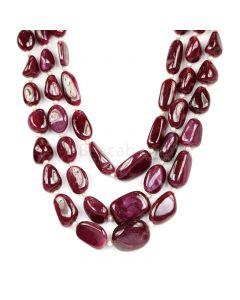 3 Lines - Medium Red Ruby Tumbled Beads - 1000 cts - 10.2 x 7.1 mm to 20.7 x 16.4 mm (RTUB1009)