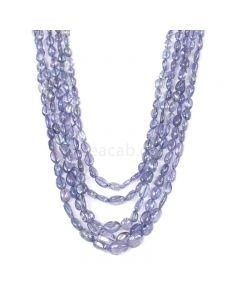 5 Lines - Violet Tanzanite Tumbled Beads - 356.58 cts - 3.7 x 3.5 mm to 10.6 x 7.7 mm (TZTUB1058)