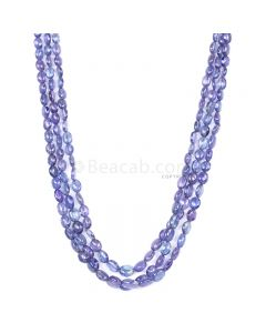 3 Lines - Violet Tanzanite Tumbled Beads - 200.00 cts - 4.1 x 3.5 mm to 8.1 x 6.1 mm (TZTUB1052)