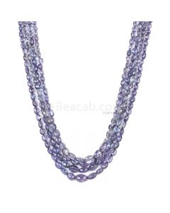 4 Lines - Violet Tanzanite Tumbled Beads - 208.00 cts - 3.9 x 3.7 mm to 9.3 x 6.5 mm (TZTUB1025)