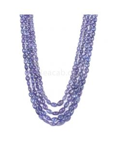4 Lines - Violet Tanzanite Tumbled Beads - 364.00 cts - 5.1 x 4.8 mm to 11 x 6.7 mm (TZTUB1057)