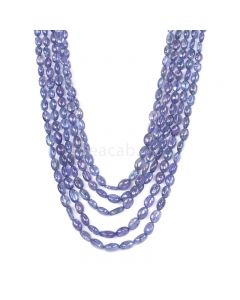 5 Lines - Violet Tanzanite Tumbled Beads - 437.60 cts - 5.2 x 3.8 mm to 19 x 17.1 mm (TZTUB1061)