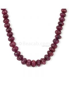 1 Line - Medium Red Ruby Carved Beads - 361.00 cts - 7.9 to 10.8 mm (RCARB1026)