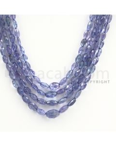 4.00 to 9.00 mm - Tanzanite Faceted Tumbled Beads - 190.00 carats - 17 to 19 inches (TzFTuB1005)