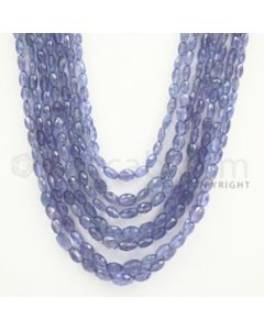 5.00 to 9.00 mm - Tanzanite Faceted Tumbled Beads - 495.10 carats - 20 to 24 inches (TzFTuB1006)