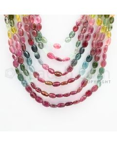 6.00 to 8.00 mm - Multi Tourmaline Long Beads - 532.45 carats - 16 to 22 inches (MuToLB1004)
