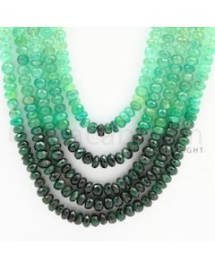 5.40 to 7.00 mm - 5 Lines - Emerald Faceted Beads - 22 to 27 inches (EFBSh1002)