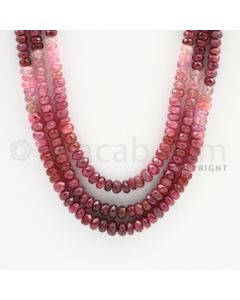 4.50 to 6.20 mm - 3 Lines - Ruby Faceted Beads - 20 to 21 inches (RFBSh1003)