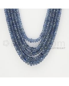 2.50 to 5.00 mm - 5 Lines - Sapphire Faceted Beads - 20 to 23 inches (SFB1011)