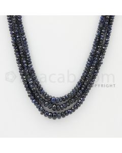 2.50 to 5.00 mm - 3 Lines - Sapphire Faceted Beads - 18 to 19 inches (SFB1059)