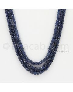 2.50 to 5.00 mm - 3 Lines - Sapphire Faceted Beads - 21 to 23 inches (SFB1060)