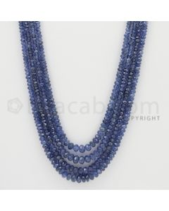 2.00 to 5.00 mm - 4 Lines - Sapphire Faceted Beads - 24 to 26 inches (SFB1061)