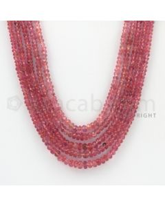 2.30 to 4.50 mm - Pink Sapphire Faceted Beads - 242.80 Carats - 5 Lines (PnSFB1005)