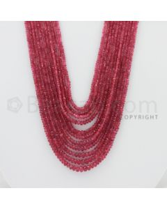 2.00 to 5.00 mm - Pink Sapphire Faceted Beads - 367.00 Carats - 11 Lines (PnSFB1011)