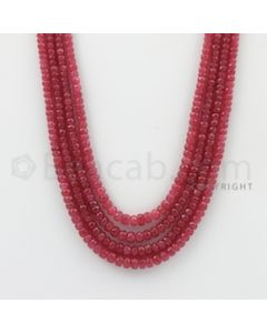 2.50 to 4.50 mm - Pink Sapphire Faceted Beads - 337.80 Carats - 5 Lines (PnSFB1012)