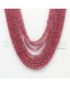 2.00 to 5.00 mm - Pink Sapphire Faceted Beads - 327.25 Carats - 8 Lines (PnSFB1013)
