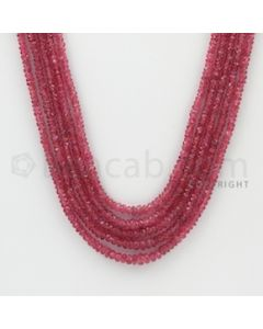 2.30 to 4.00 mm - Pink Sapphire Faceted Beads - 202.50 Carats - 5 Lines (PnSFB1022)