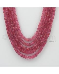 3.00 to 5.50 mm - Pink Sapphire Faceted Beads - 426.20 Carats - 5 Lines (PnSFB1025)