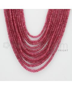 2.20 to 4.30 mm - Pink Sapphire Faceted Beads - 414.70 Carats - 11 Lines (PnSFB1026)