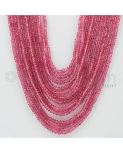 2.00 to 4.50 mm - Pink Sapphire Faceted Beads - 454.50 Carats - 13 Lines (PnSFB1027)