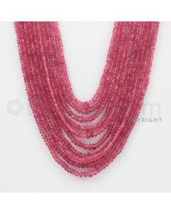2.00 to 5.00 mm - Pink Sapphire Faceted Beads - 346.50 Carats - 10 Lines (PnSFB1028)