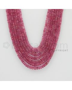 2.50 to 4.50 mm - Pink Sapphire Faceted Beads - 312.20 Carats - 7 Lines (PnSFB1030)